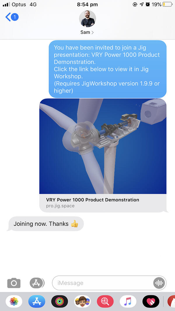 A Jig Workshop invitee receives a link to join a Remote AR presentation in iMessage